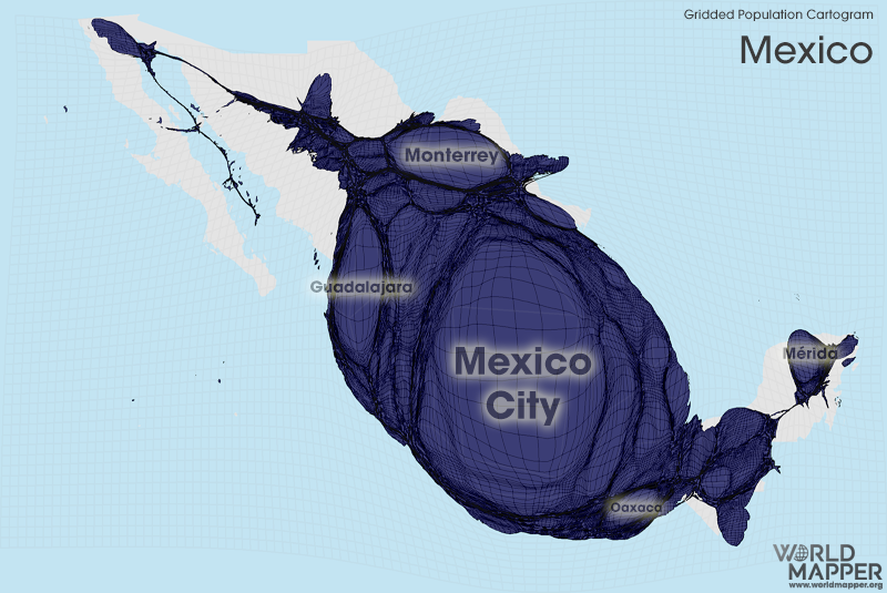 Gridded Population Cartogram Mexico