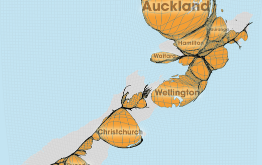 Gridded Population Cartogram New Zealand