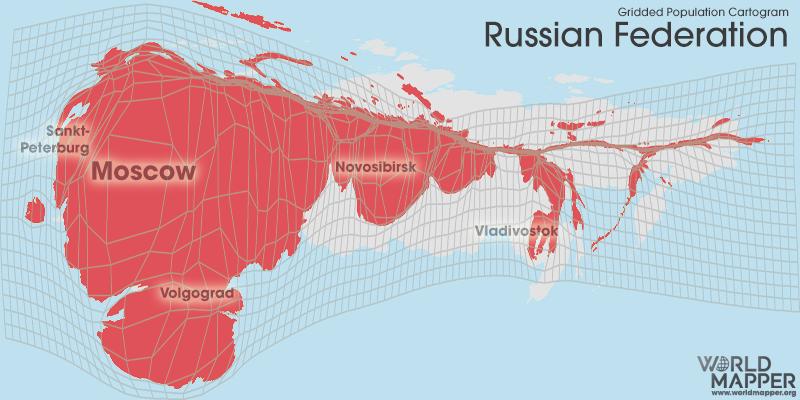 Gridded Population Cartogram Russia