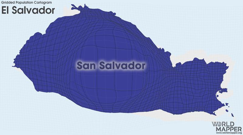 El Salvador Gridded Potion   Worldmapper on georgetown on world map, costa rica on world map, el salvador map, cuba on world map, tenochtitlan on world map, recife on world map, panama on world map, tegucigalpa on world map, cabinda on world map, bahamas on world map, altamira on world map, santiago on world map, port of spain on world map, la habana on world map, salvador brazil on world map, arenal volcano on world map, santo domingo on world map, monterey world map, sanaa on world map, conakry on world map,