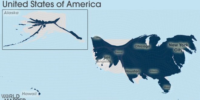 Gridded Population Cartogram United States of America