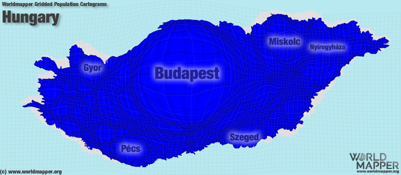 Hungary Gridded Population | Worldmapper