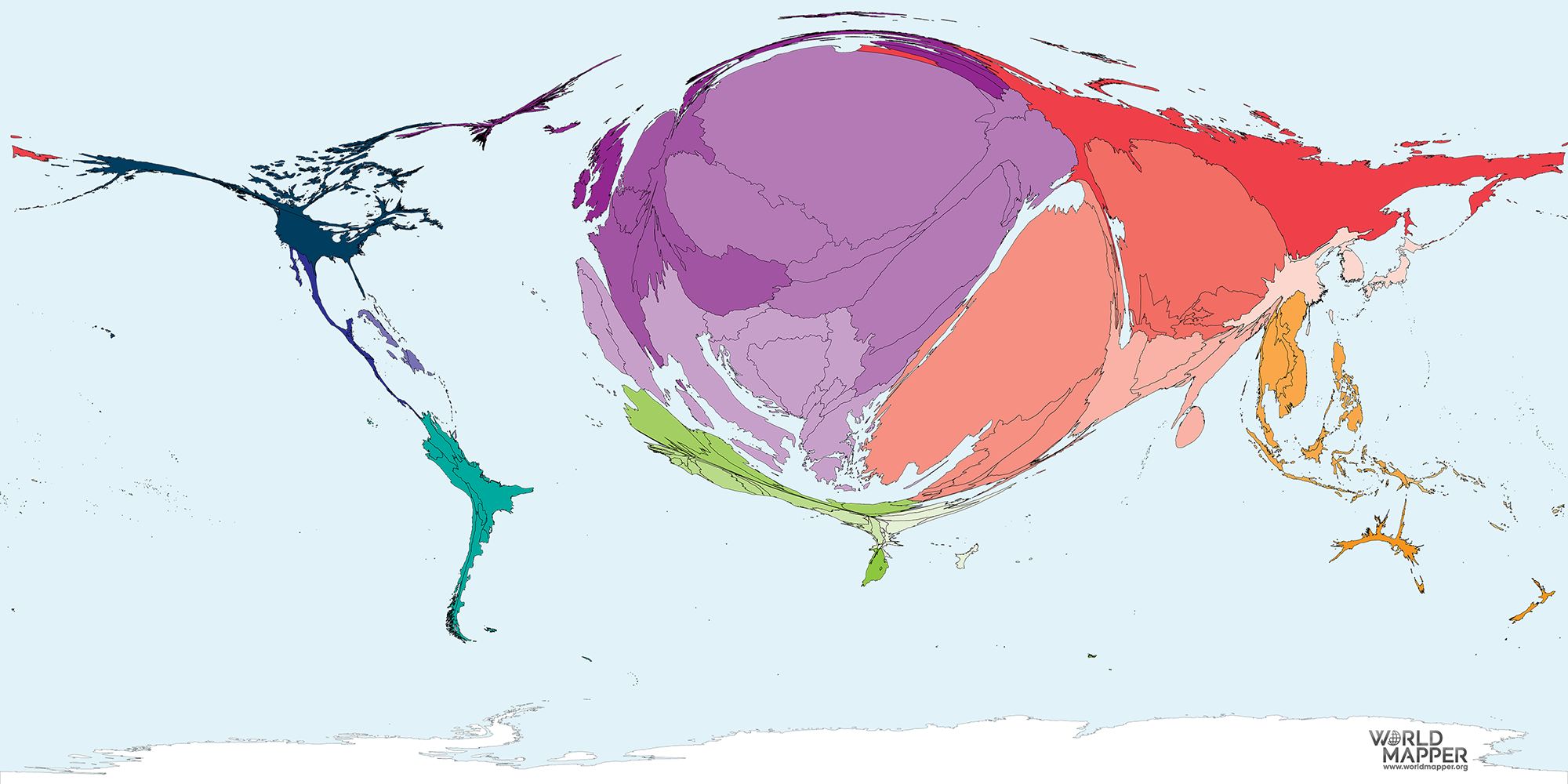Germany On A Map Of The World.Migration To Germany 1990 2017 Worldmapper