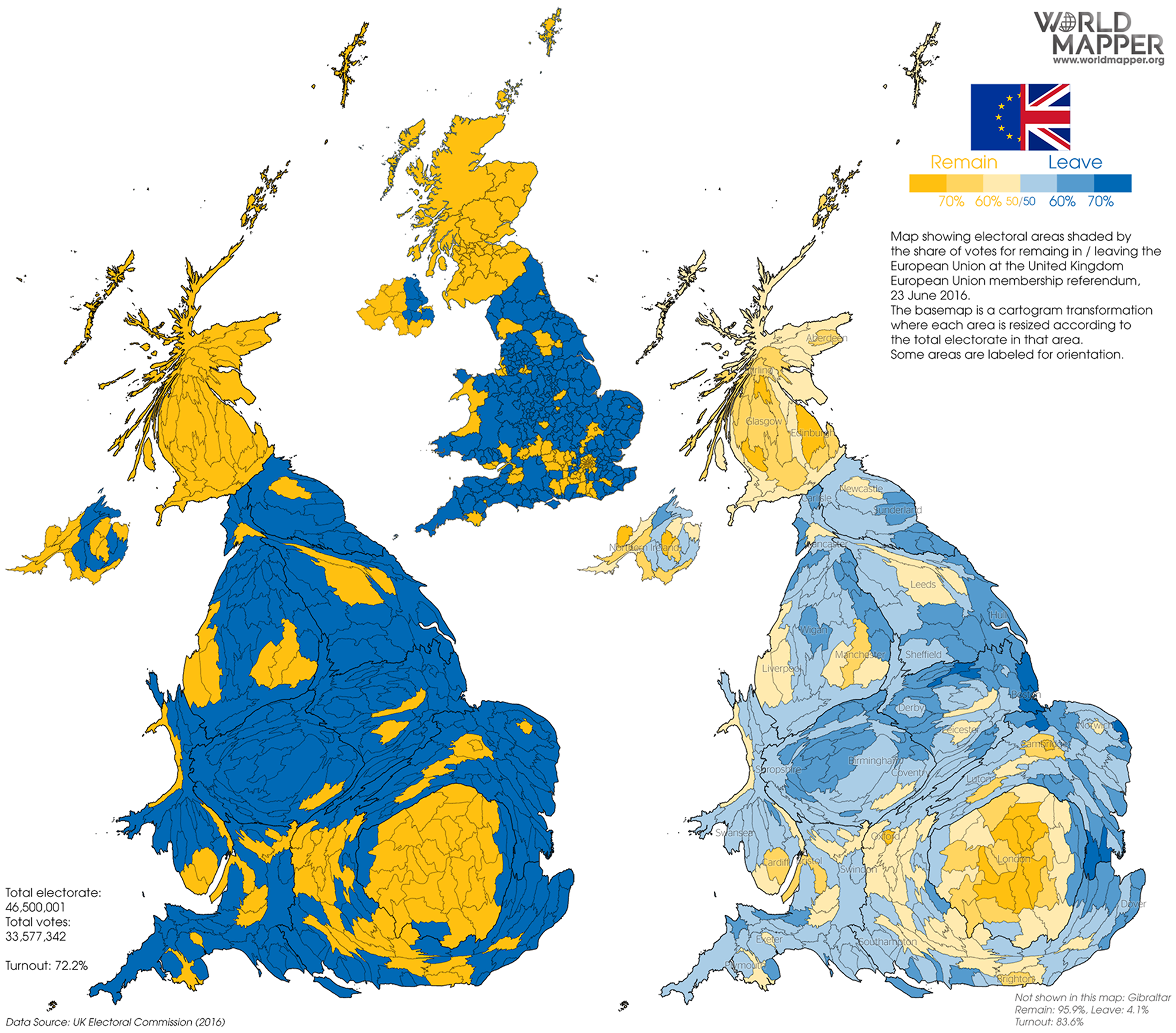 Map Of Uk Derby.Uk Eu Referendum 2016