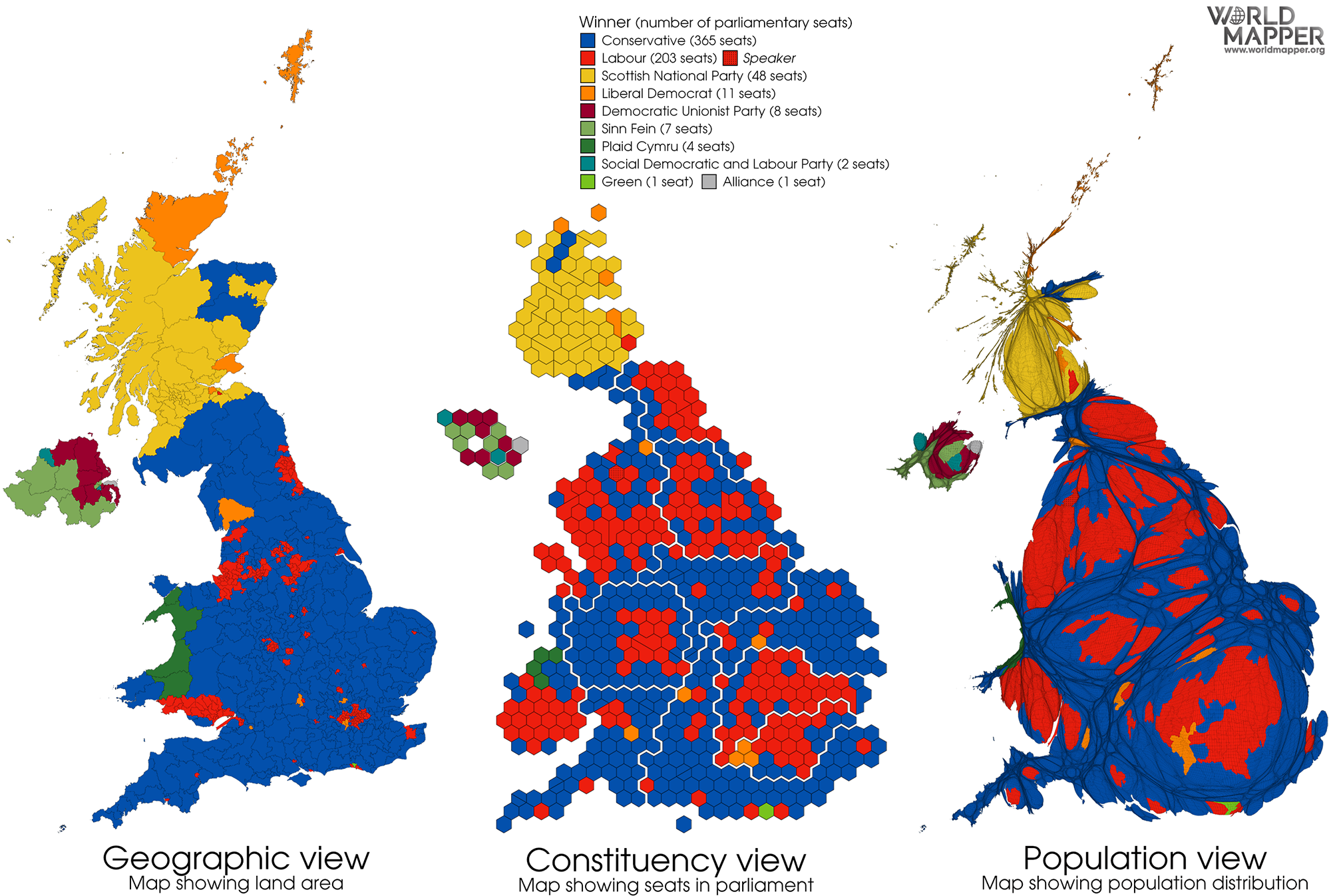 Cartographic Views Of The 2019 General Election Worldmapper