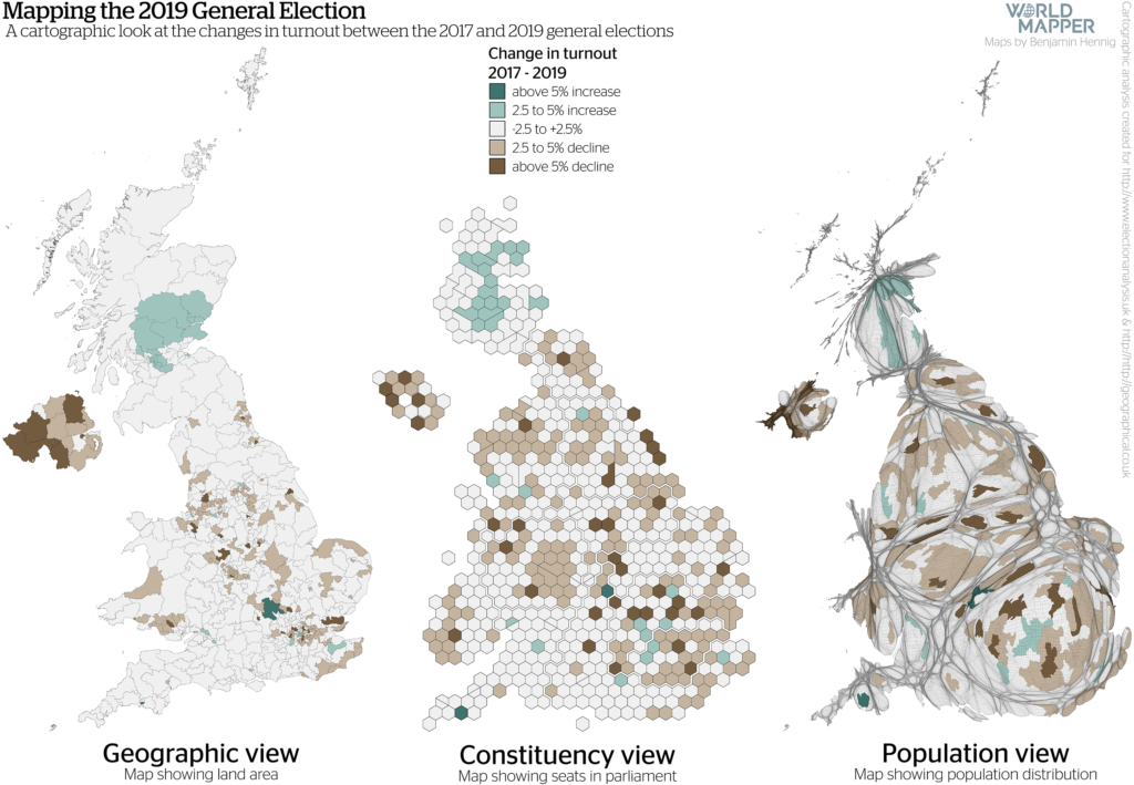 UK General Election Results 2019: Turnout change 2017-2019